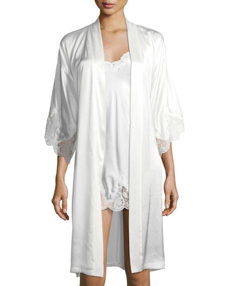 Lace Trim Silk Robe