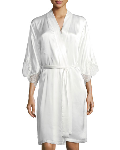 Lace Trim Silk Robe