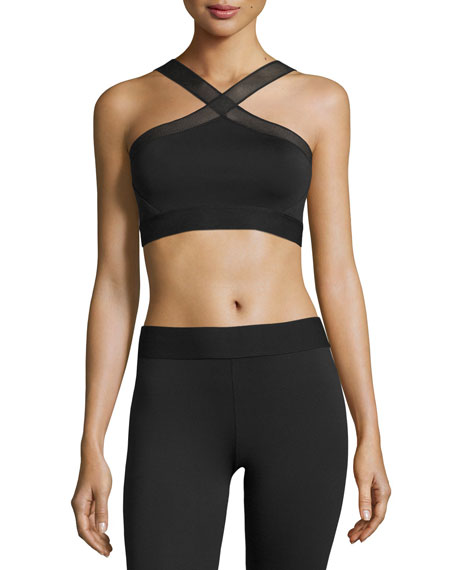 Heroine Sport X Mesh-Trim Sports Bra, Black