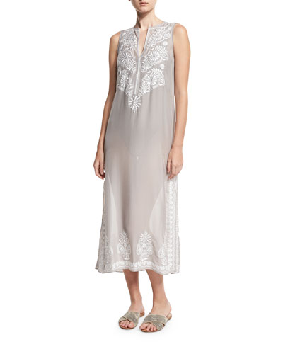 Floral Sleeveless Embroidered Silk Chiffon Long Caftan Coverup  Silver