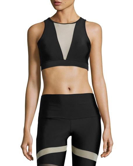 Briana Mesh-Insert Sports Bra, Black/Nude