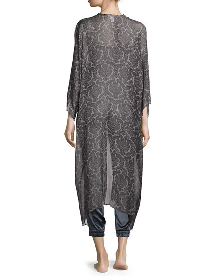 Hand-Embellished Silk Babani Coverup, Black Pattern