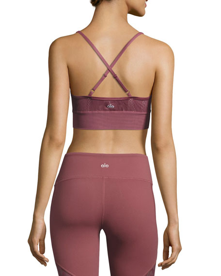 Aria Lace Sports Bra, Grenache/Buff