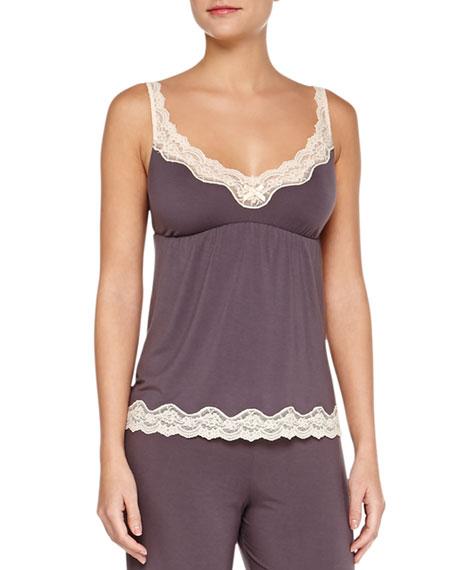 Eberjey Lady Godiva Lace-Trim Lounge Camisole, Pebble/Beige