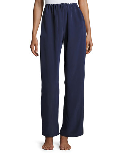 Opal Drawstring Silk Lounge Pants, Dark Blue
