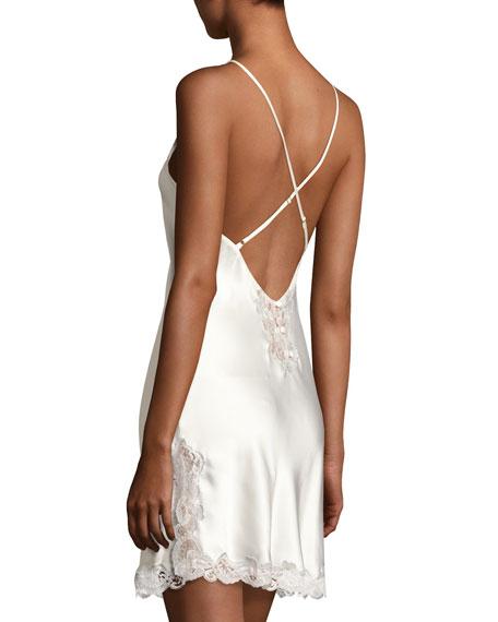 Lace-Trim Button-Back Short Chemise, Pearl