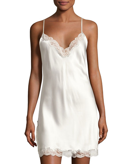 Christine Designs Lace-Trim Button-Back Short Chemise, Pearl