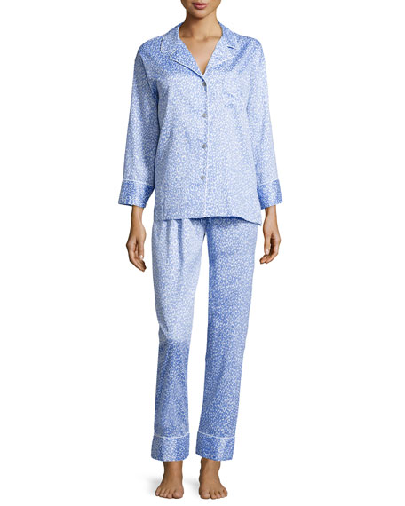 Leopard-Print Two-Piece Pajama Set, Blue