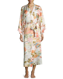 Yuzen Floral-Print Long Wrap Robe, Antique