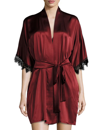 Silk Short Robe, Bordeaux