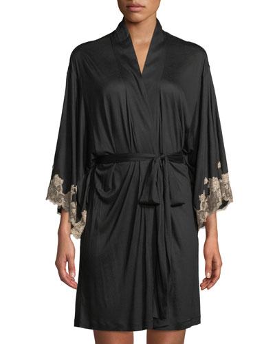 Charlize Lace-Trim Short Robe