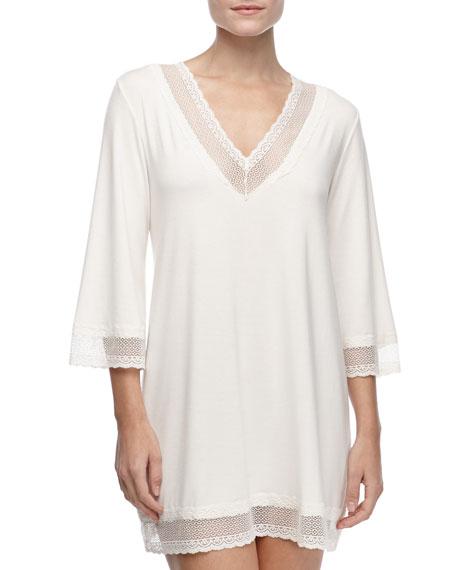 Eberjey Gisele 3/4-Sleeve Lace-Trim Tunic