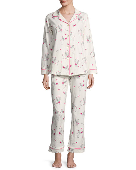 Bedhead Fifi Long-Sleeve Printed Classic Pajama Set, White