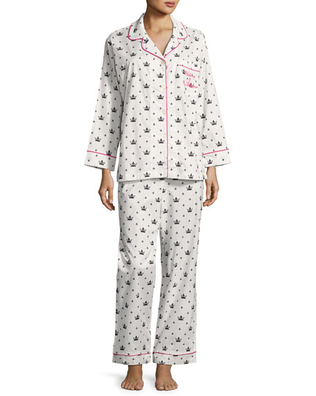 Bedhead Queen Long-Sleeve Pajama Set, White/Black, Plus Size