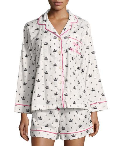 Queen-Print Long-Sleeve Shortie Pajama Set, White/Black