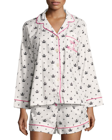 Queen-Print Long-Sleeve Shortie Pajama Set, White/Black