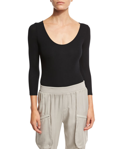 3/4-Sleeve Ribbed Bodysuit, Black