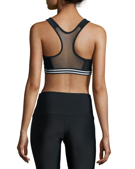 Graphic Elastic Sports Bra, Black/White