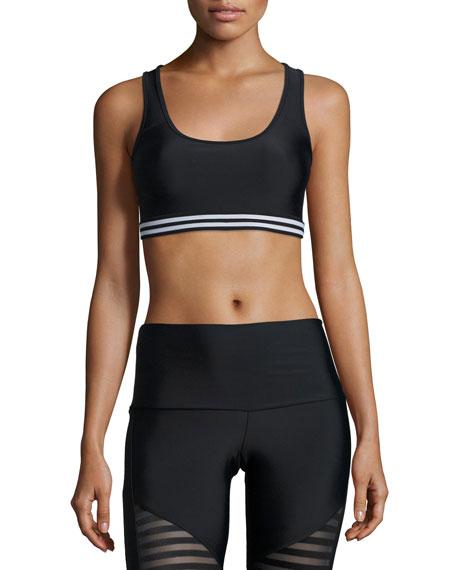 Graphic Elastic Sports Bra, Black/White