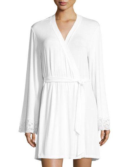 Cosabella Jersey-Knit Lace-Cuff Robe, White