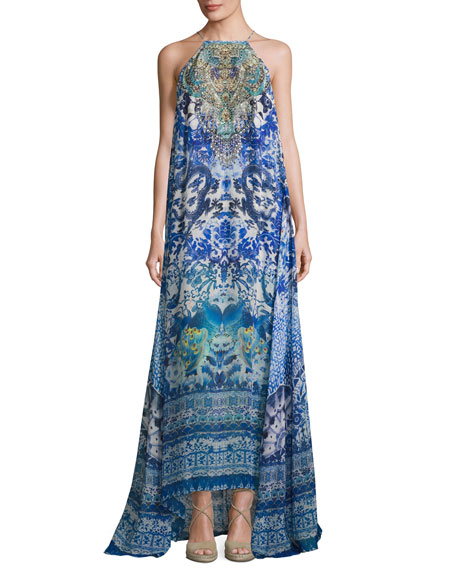 High-Neck Embellished Silk Maxi Dress, Guardian of Secrets