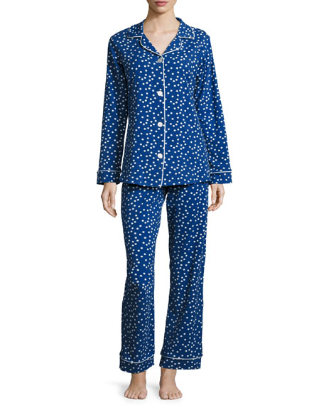 Bedhead Demi Dot Long-Sleeve Classic Pajama Set, Blue