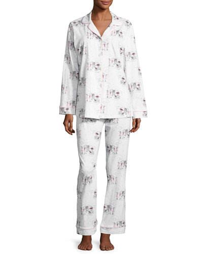 Exclusive Glamping Long-Sleeve Classic Pajama Set, White Pattern