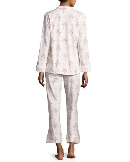 Flamingos in Love Long-Sleeve Classic Pajama Set, White Pattern