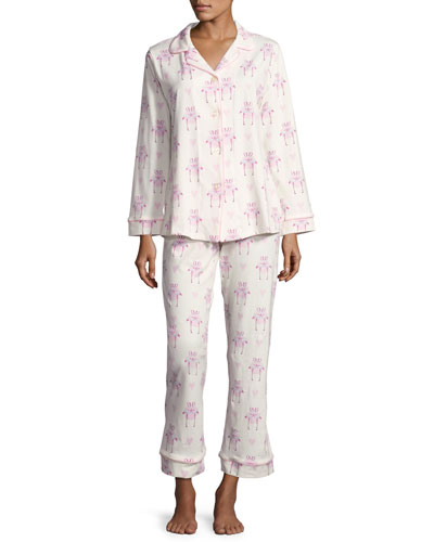 Flamingos in Love Long-Sleeve Classic Pajama Set, White Pattern