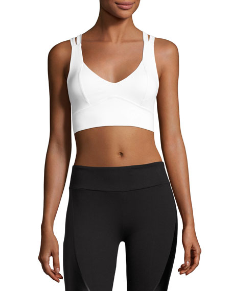 Avery V-Neck Compression High-Impact Sports Bra, White