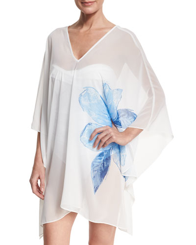 Sheer Swim-Coverup Caftan, White