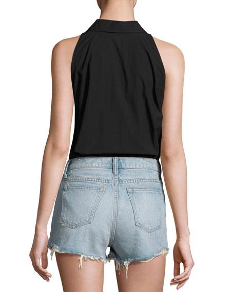 Sleeveless Washed Poplin Bodysuit, Black