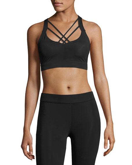 Gaia Strappy Sports Bra, Black