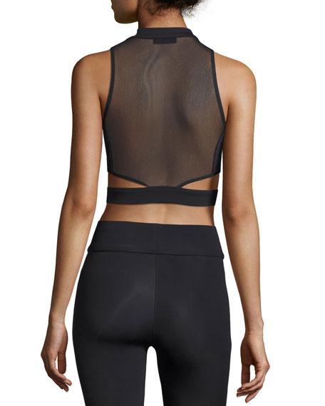 Olympia Zip-Front Mesh-Back Crop Top, Black