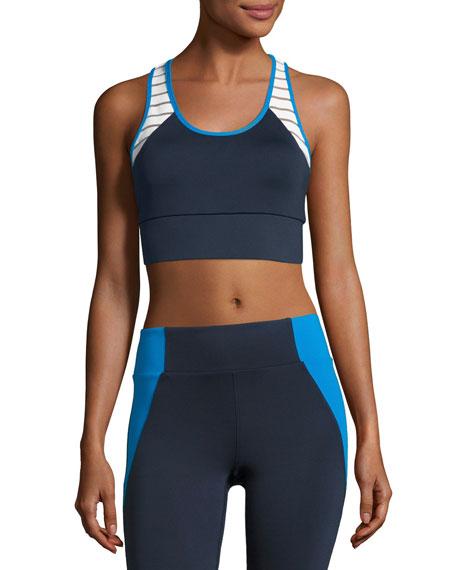 Tread Athletic Sports Bra, Blue-White