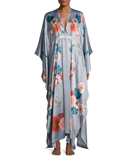 V-Neck Floral-Print Silk Wrap, Silver