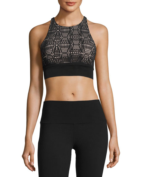 Alo Yoga Illuminate Lace-Print Sports Bra, White Pattern