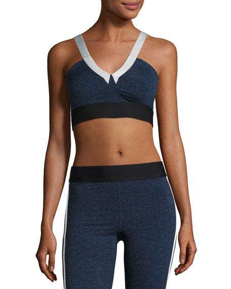 V Heathered Sports Performance Bra, Blue-Gray