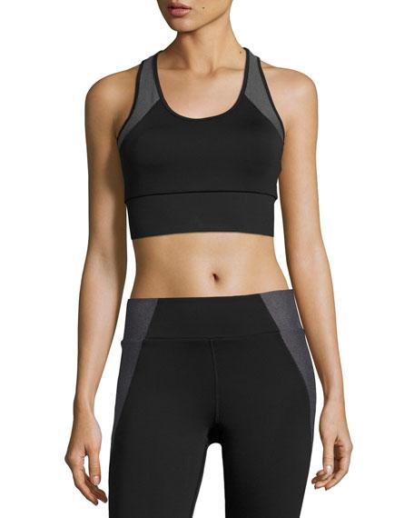 Heroine Sport Tread Performance Sports Bra, Black Pattern