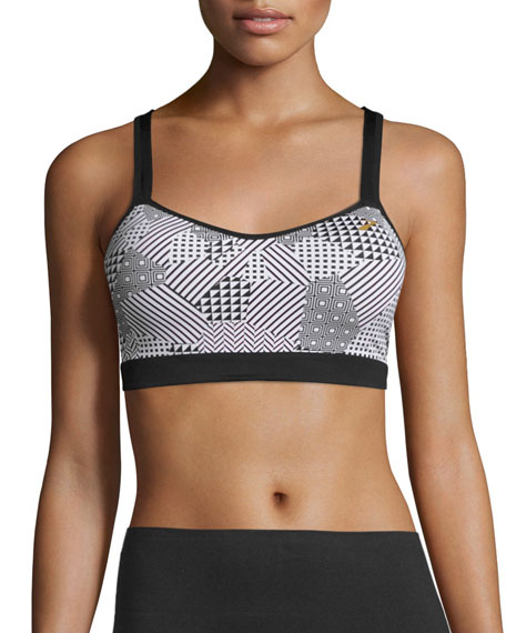 UpRise Crossback Sports Bra (A/B), Black/White
