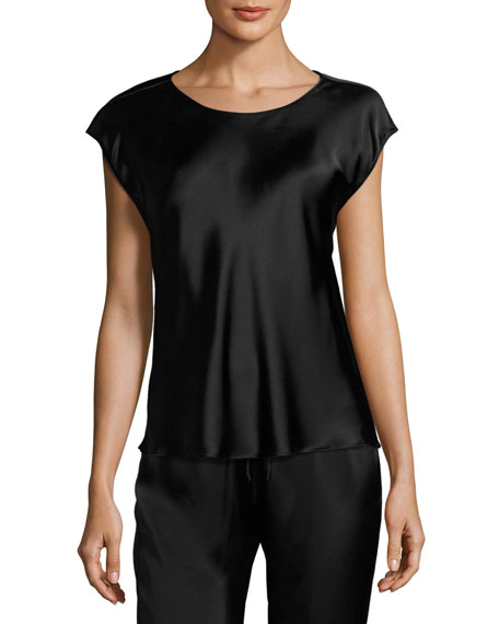 Cap-Sleeve Silk Lounge Top, Black