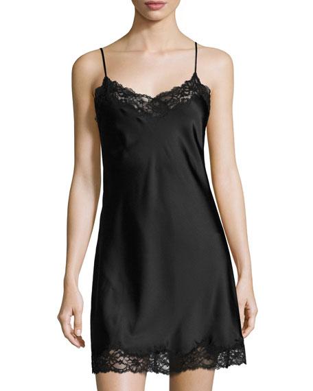 Sleek Lace-Trimmed Full Slip, Black