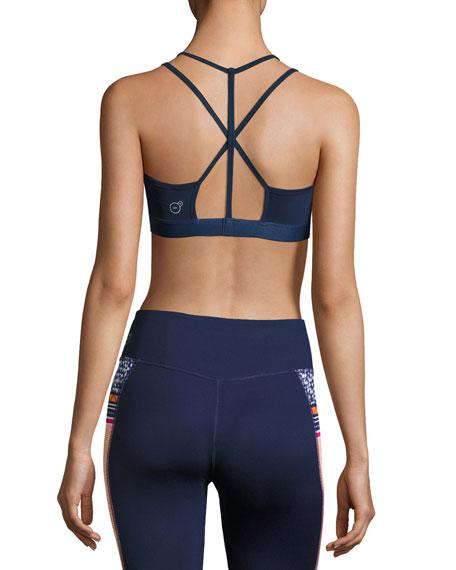 Yogini Strappy-Back Performance Sports Bra, Navy