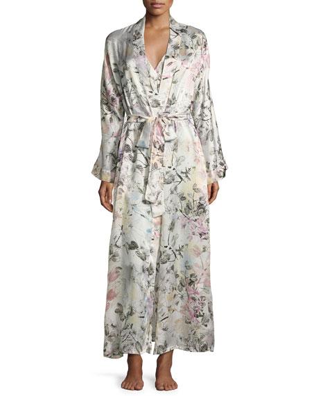 Juliet Printed Long Wrap Robe, Multi Pattern