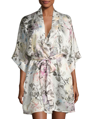Juliet Silk Short Robe, Multi Pattern