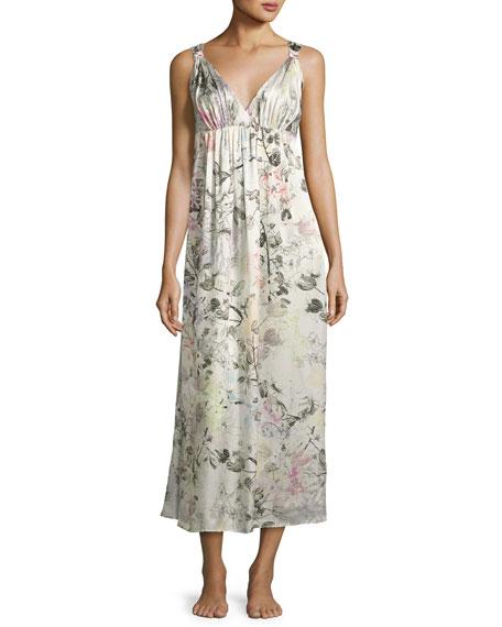 Juliet Silk Long Nightgown, Multi Pattern