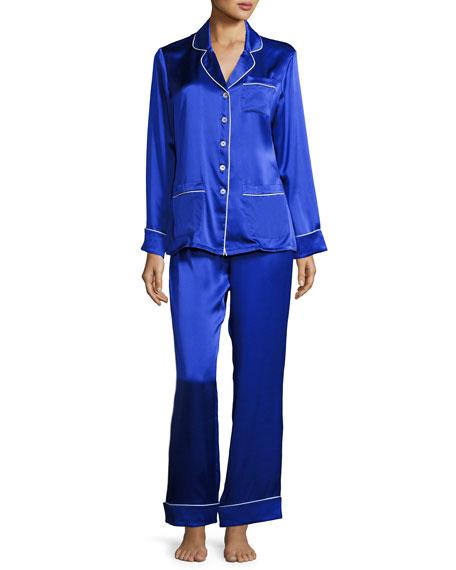Coco Silk Pajama Set, Cobalt