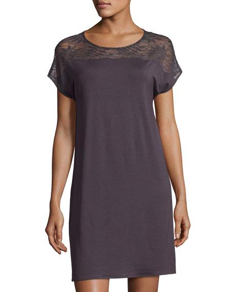 Hanro Greta Cap-Sleeve Nightgown, Brown