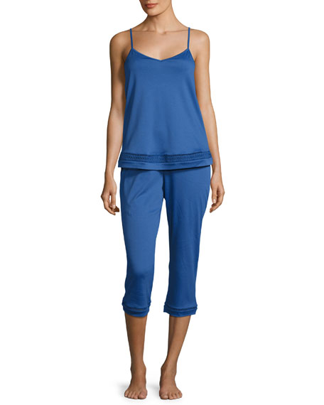 Hanro Stella Crop Pajama Set, Royal