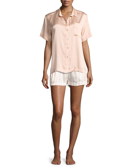 Striped Satin Pajama Shorts, Pink Pattern